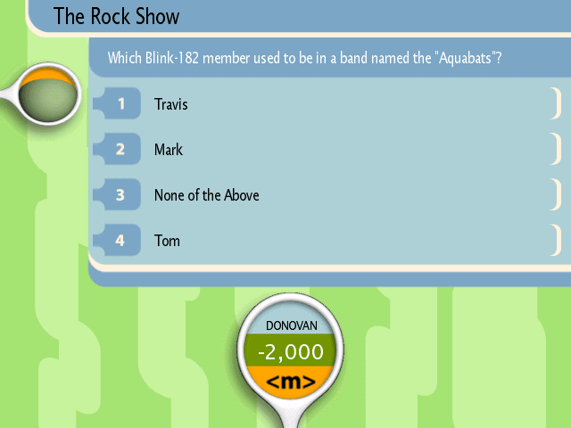 A typical question on TRL Trivia. I actually got this one right!