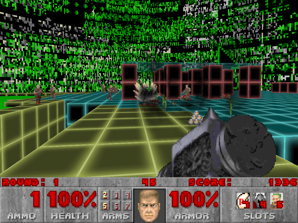 I'm in a futuristic cyberworld fighting Doom enemies with Hexen weapons and can fly around at will. Don't try to understand it, it'll just hurt your brain.