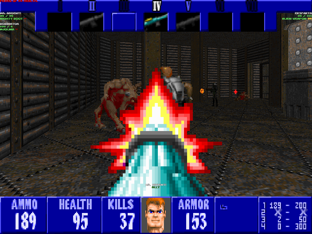 B.J. Blazkowicz, Duke Nukem, and the guy from Marathon, all fighting on the same level. What's not to like?