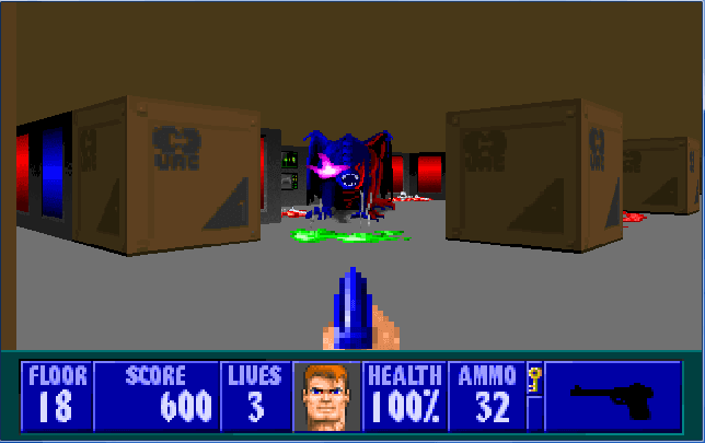 I bet there's someone out there who's made a theory that Wolfenstein and Doom take place in the same universe just by this area alone.